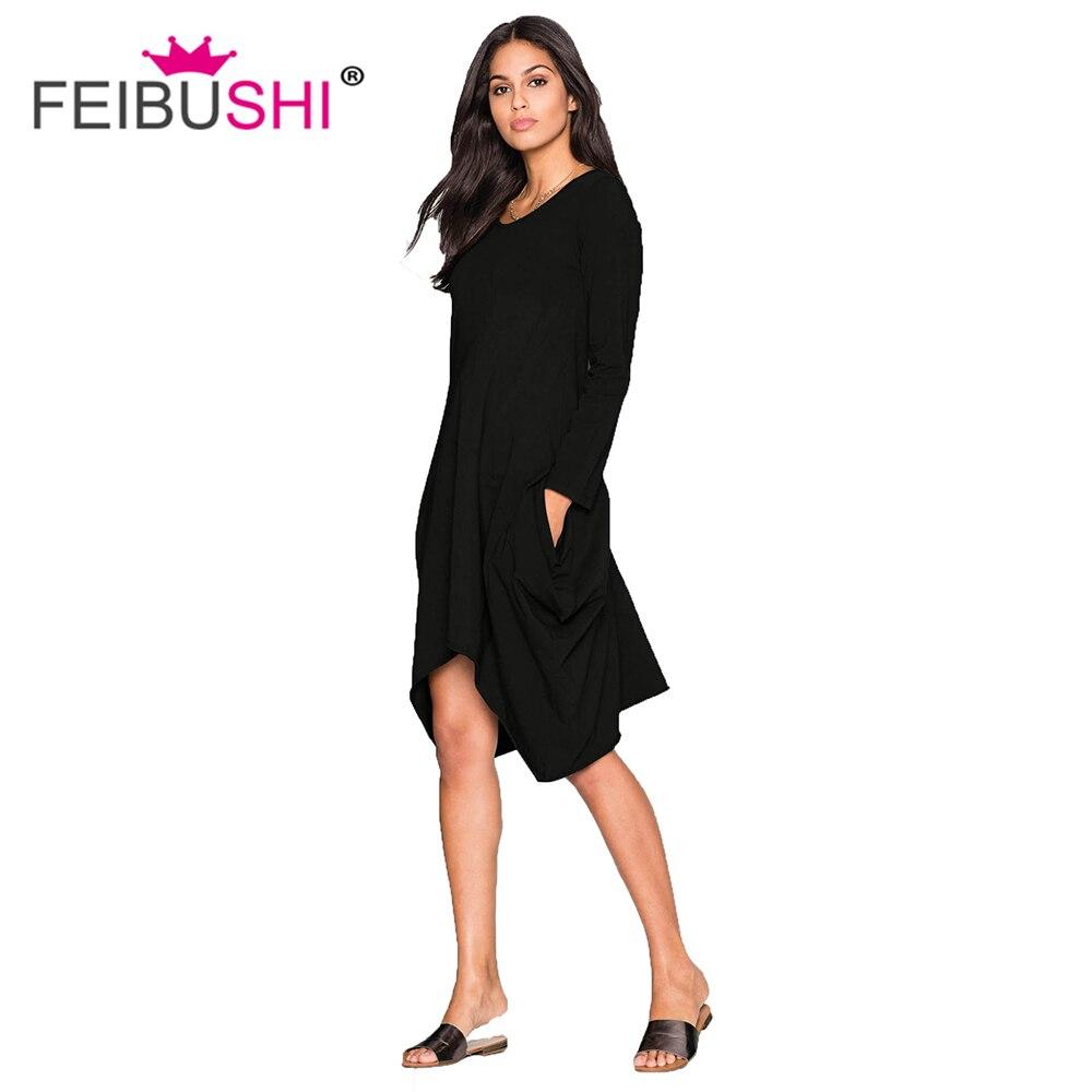 FEIBUSHI Oficina de la señora de las mujeres camisa de manga larga Casual sólido suelto otoño vestidos Casual vestido de gasa vestido asimétrico