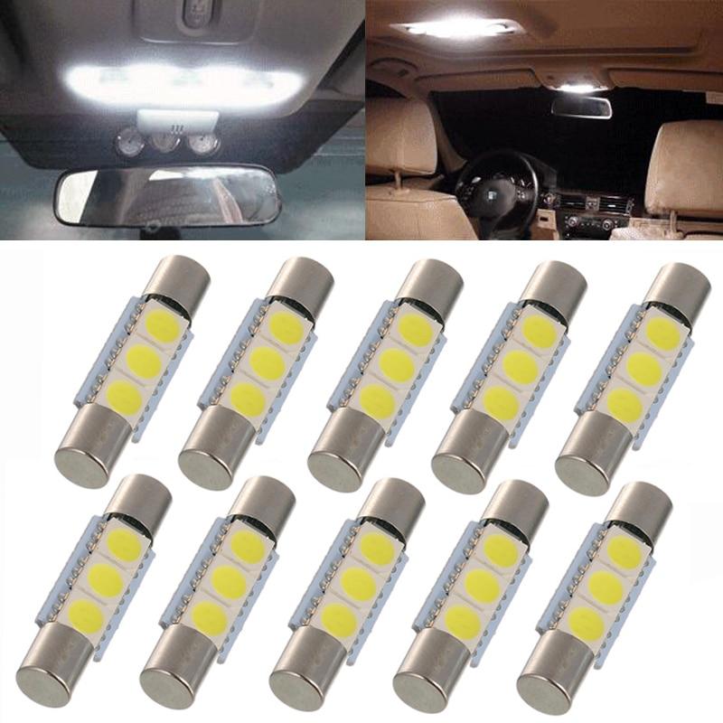 10 Uds Luz de techo interior para coche 5050 29MM 3SMD fusible LED festón vanidad espejo bombilla para 6641 TS-14V1C