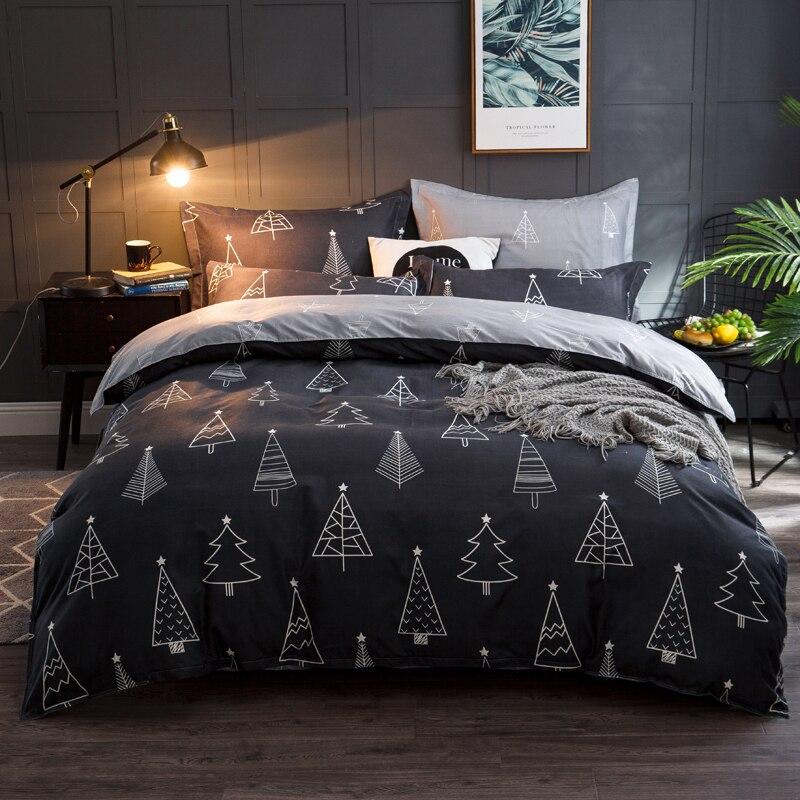 Textiles para el hogar de cuidado de la piel simple conjunto de cuatro piezas de ropa de cama individual doble hoja de colcha 1,8/2,0 funda de almohada de la Reina