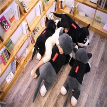 Giant Dressed Fashion Husky Stuffed Doll Sweater Soft Husky Lying Plush Toy Pillow Grey Dog Animals Girls Kids Birthday Gift