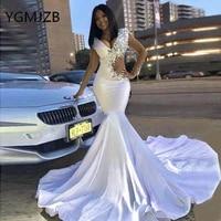 white prom dress long mermaid for black girl 2020 satin v neck rhinestones beaded african women formal graduation party gowns