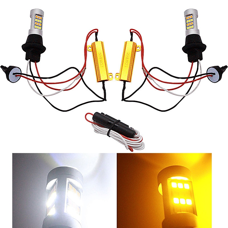 BA15s 1156 P21W BAU15S PY21W S25 42led T20 W21W WY21W 7440 Lamp Daytime Running Light+Turn Signal Dual Mode DRL LED Lights