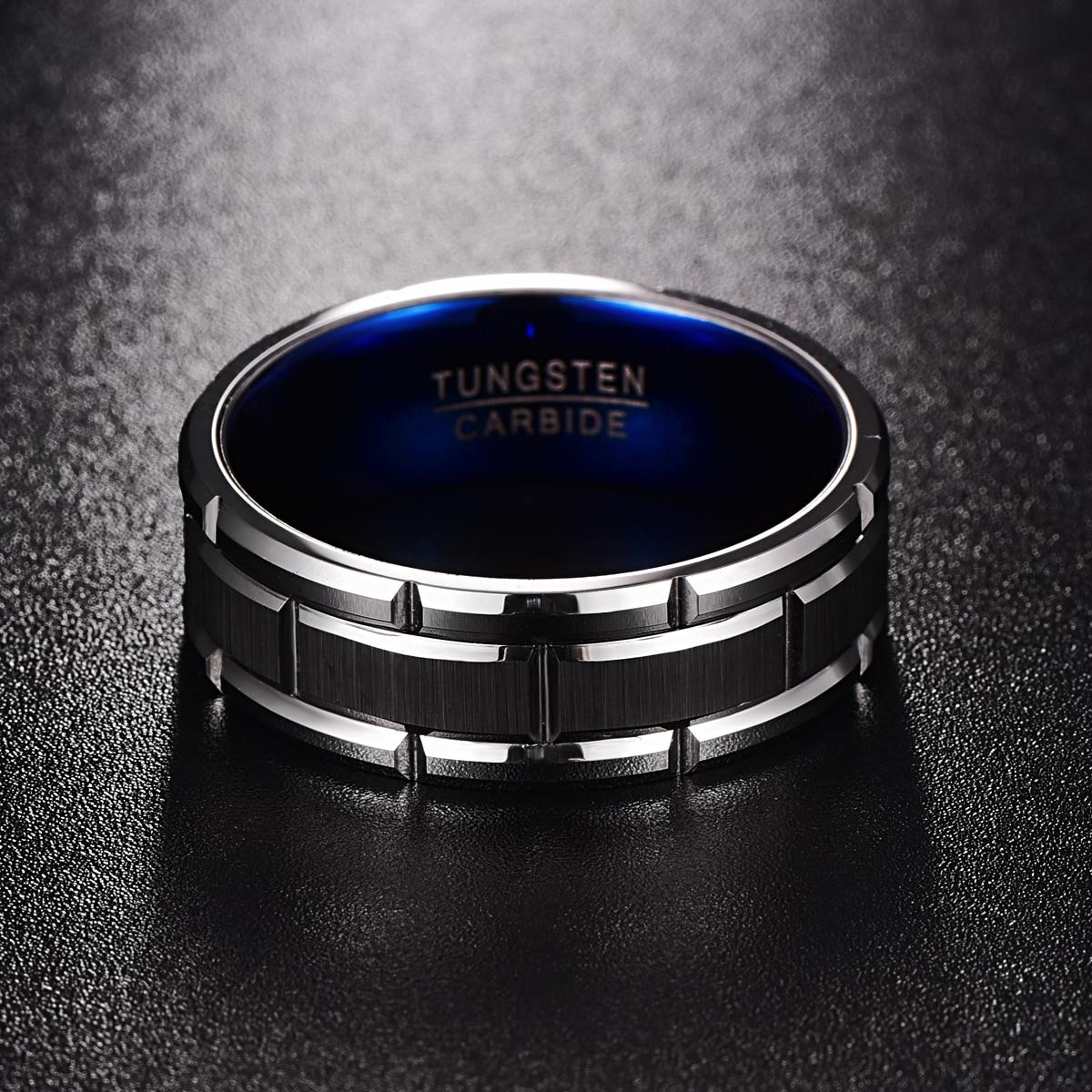 Мужское кольцо из вольфрама, с синим внутренним кольцом