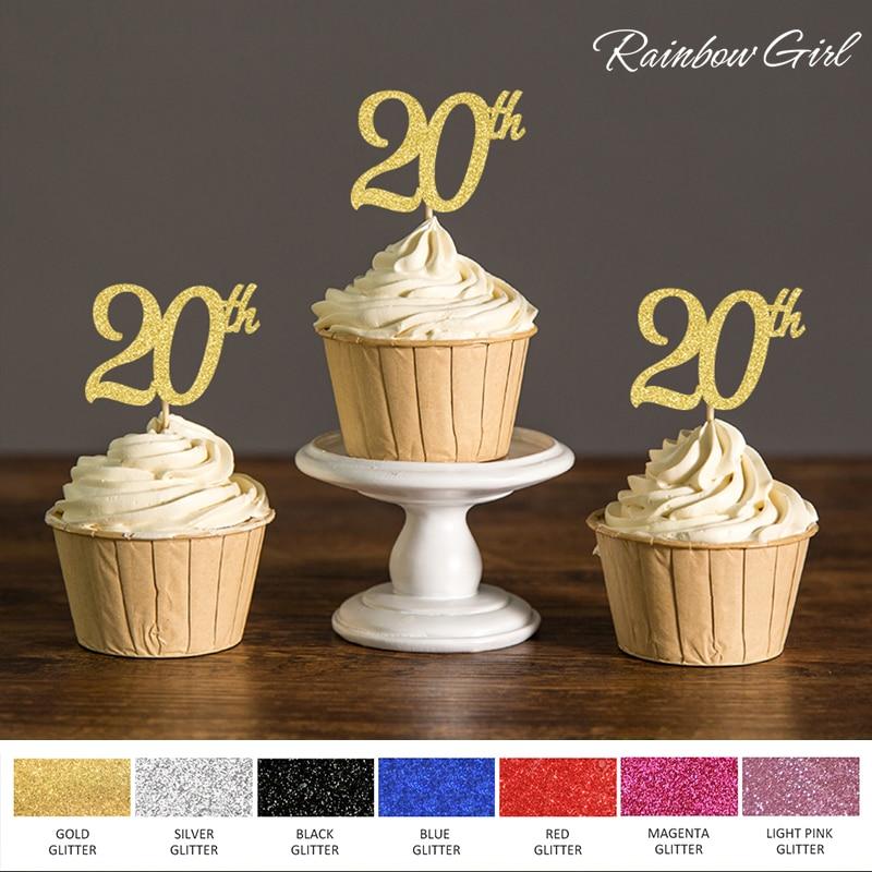 Oro/plata/Negro Glitter 20th Cupcake Toppers selecciones para Twenty decoraciones para fiesta de cumpleaños suministros de accesorios para pasteles
