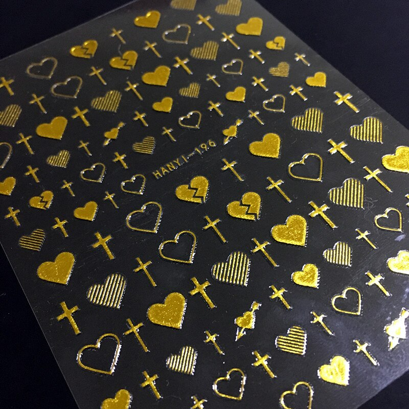 Más HANYI-196 Cruz y corazón adhesivos para manicura 3D uñas de etiqueta de exportación de diseño japonés