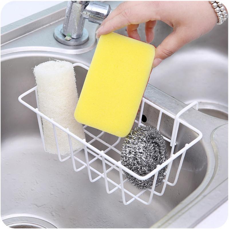 Fregadero esponja colgante almacenamiento escurridor plato estante Multi función práctico cocina almacenamiento soporte de hierro