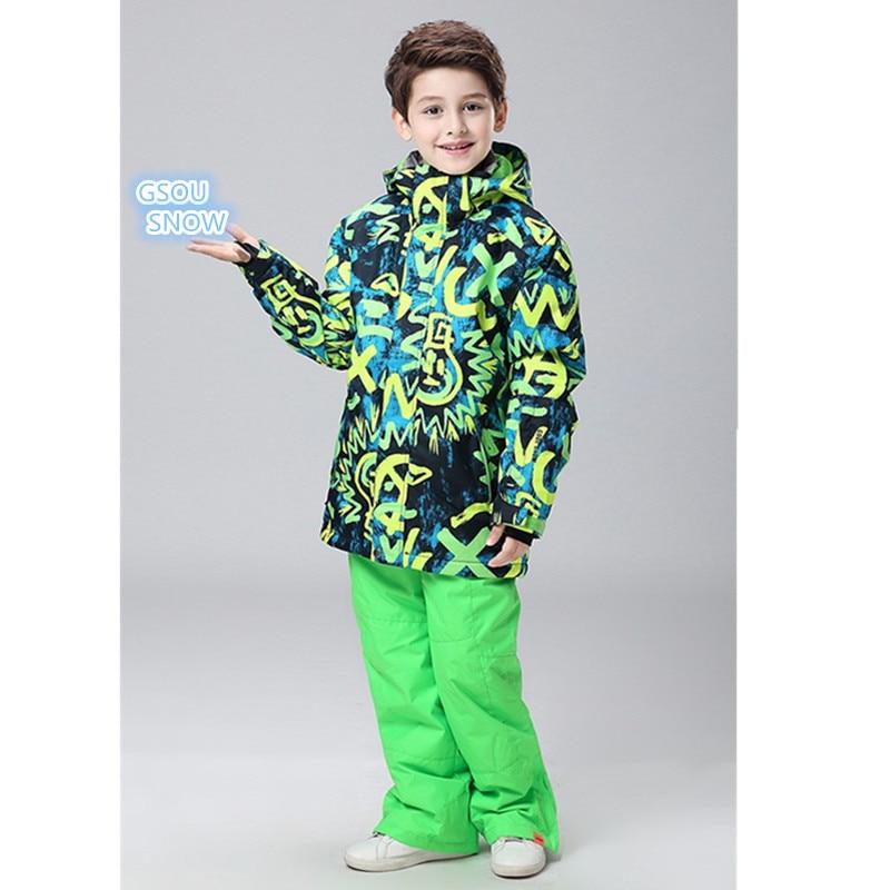 Gsou snow 10 K, ropa de invierno para niños, ropa de abrigo para niños, traje de esquí + pantalones a prueba de viento, traje grueso para deportes al aire libre