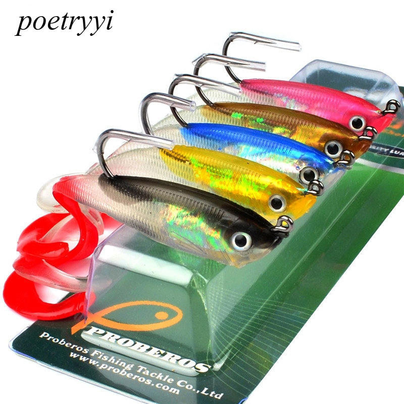 POETRYYI 5PCS Soft Bait with JIG Hook 5 Color Fishing Lure 10cm Fishing Bait 14.7g Fishing Tackle with Lead Fishing Soft Lure