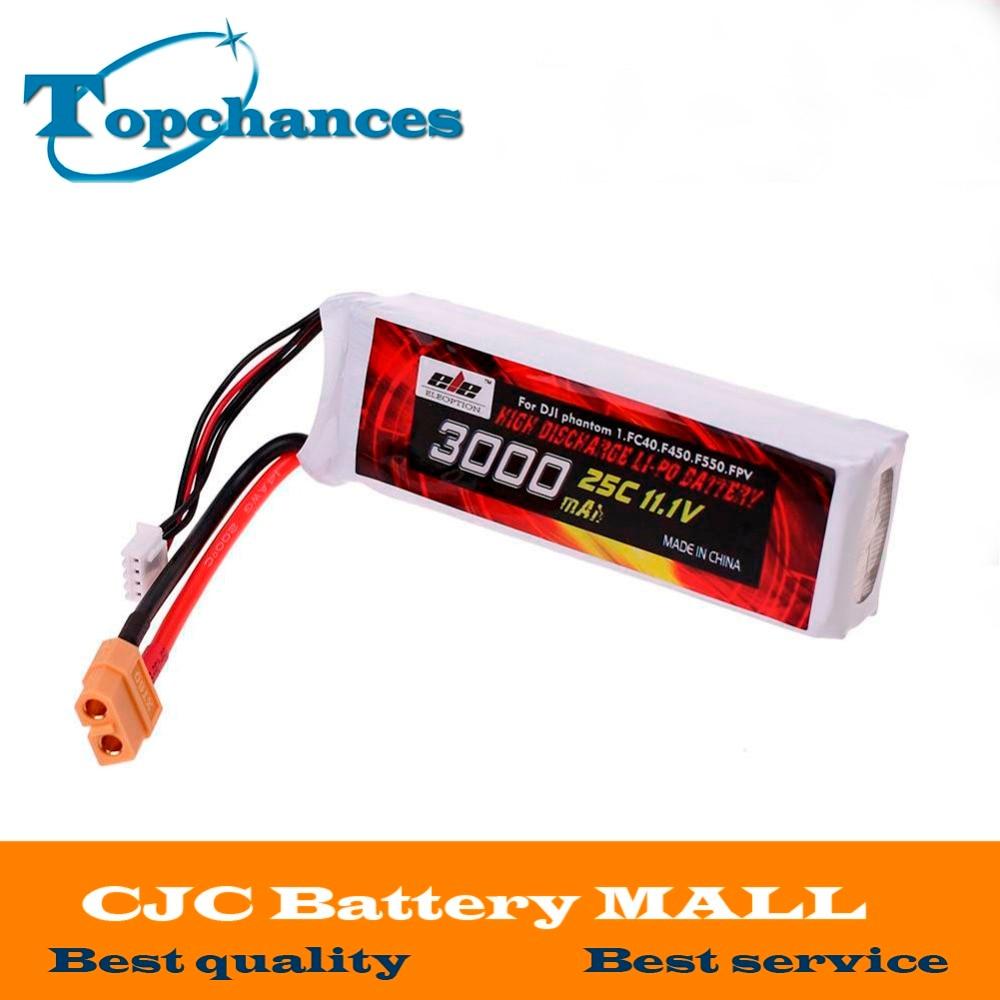 Alta Qualidade 3000 mAh 11.1 V 25C Lipo Li-Po Bateria XT60 Plug para DJI Fantasma 1 FC40 F45 F550 Frete Grátis
