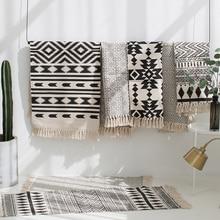 Kilim preto branco 100% algodão sala de estar tapete geométrico indiano listra moderno design contemporâneo boemia estilo nórdico