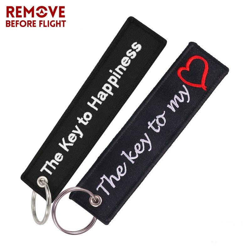 La clé du bonheur porte-clés pour motos et voitures cadeaux veste Tag porte-clés broderie la clé de mon coeur porte-clés Bijoux