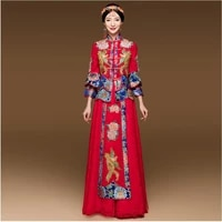 opening ceremony party show blue red cheongsam wedding dress for overseas chinese women vestido oriental collar sexy long qi pao