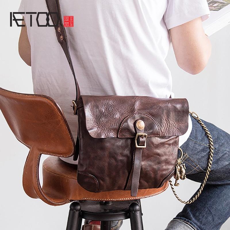 AETOO Imported head cowhide Small bag male retro trend female fashion crossbody bag