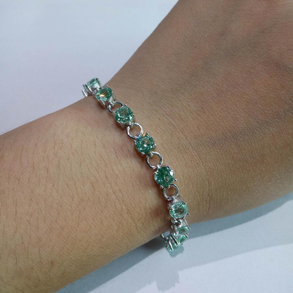 100% 925 Sterling Silver Bracelet Tanzanite Green Spinel 5mm stone Women Bracelet for gift