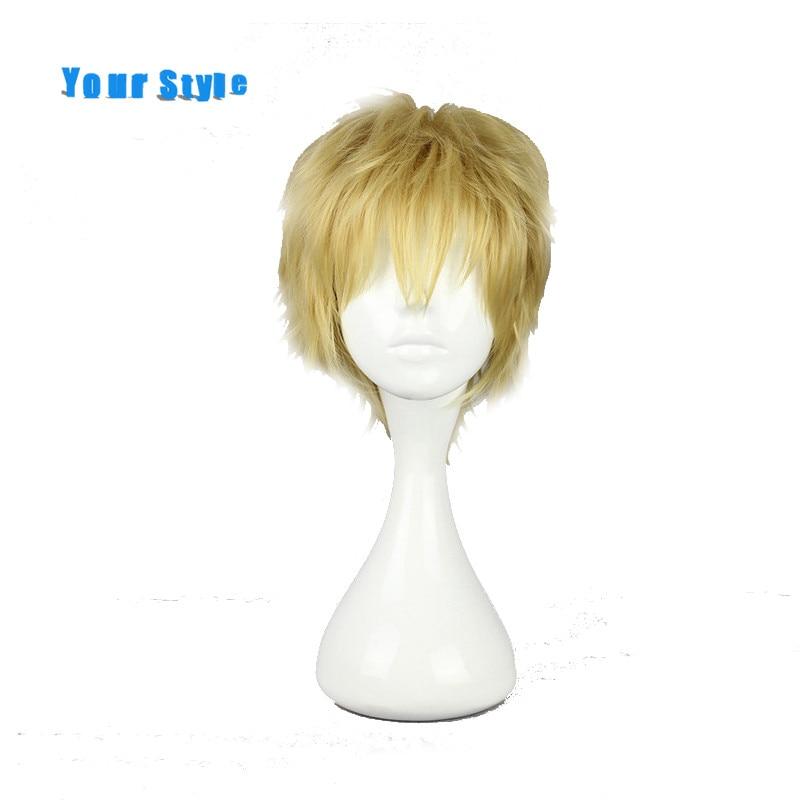 Estilo curto encaracolado cosplay perucas masculino para festa de cabelo sintético falso