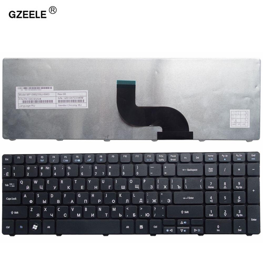 GZEELE ruso teclado del ordenador portátil para Gateway ZQ2 ZR7 ZYB 5800 7251 NV50A NV53A NV59C NV79C NV50 NV59C NEW90 PEW96 Q5WT6 Negro RU