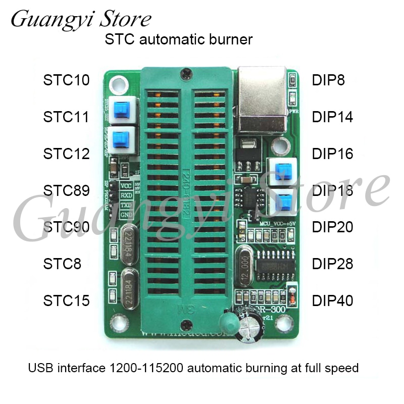 Programador STC quemador Downloader DIP 16202840 USB grabación automática de programa