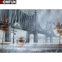 homfun full squareround drill 5d diy diamond painting bridge scenery 3d embroidery cross stitch 5d home decor gift a17271
