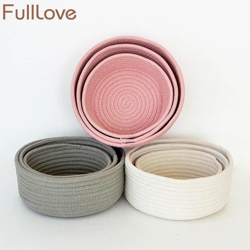 FullLove 3 unids/set canasta de almacenamiento de algodón sólido juguetes rosas organizador de cosméticos artículos diversos caja de escritorio de la joyería cesta de lavandería almacenamiento en el hogar