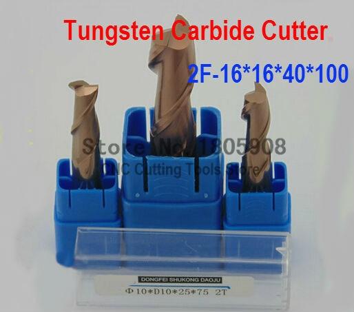 Ferramenta de Liga de Tungstênio Cortador de Trituração Máquina de Trituração Fresa Plana End Máquina Fresagem Hrc60 2f-16*16*40*100 Cnc