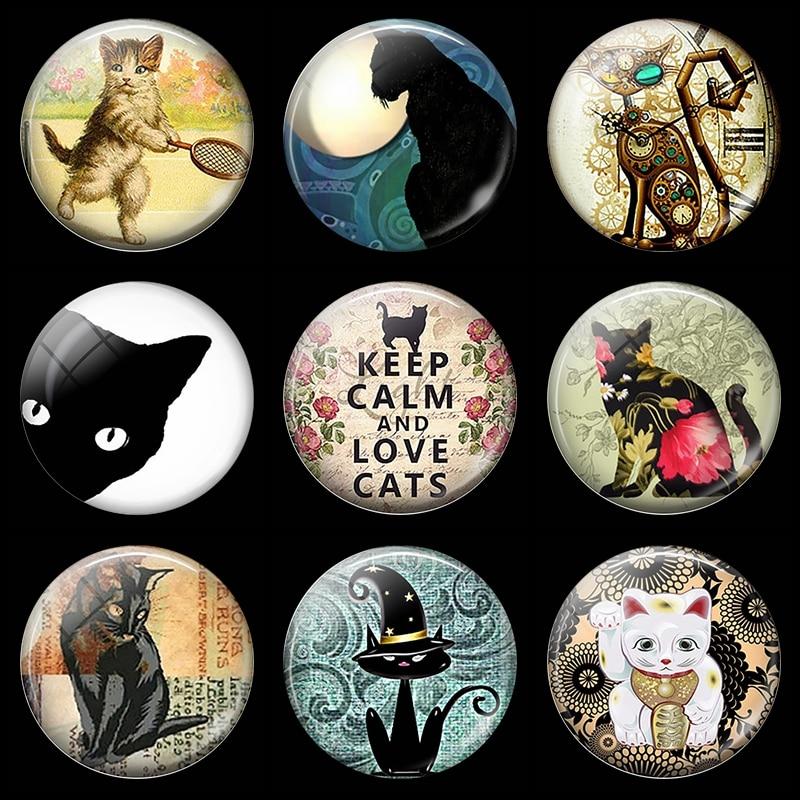 Сохраняйте спокойствие и любовь кошек 30 мм магнит на холодильник с изображением из мультфильма lucky cat стеклянный кабошон, магнитные наклейки на холодильник держатель для заметок