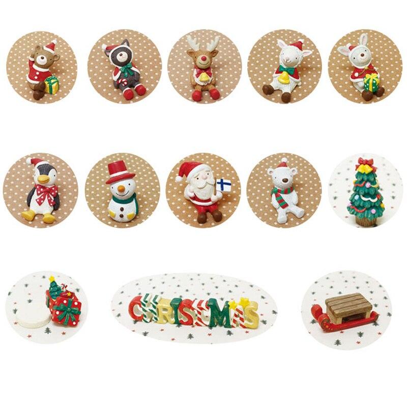 13 Uds árbol de Navidad Santa muñeco de nieve miniatura figurita Hada decoración jardín estatuas de animales/adornos para bonsáis regalo de resina