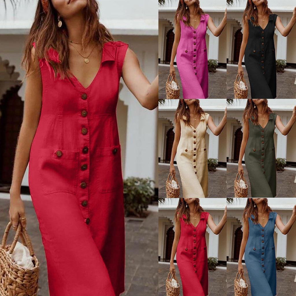 Vestido informal de verano para mujer, Vintage, elegante, liso, con botones, sin mangas, vestido Midi diario, vestido de vacaciones bohemio, vestidos de playa, ropa #3s