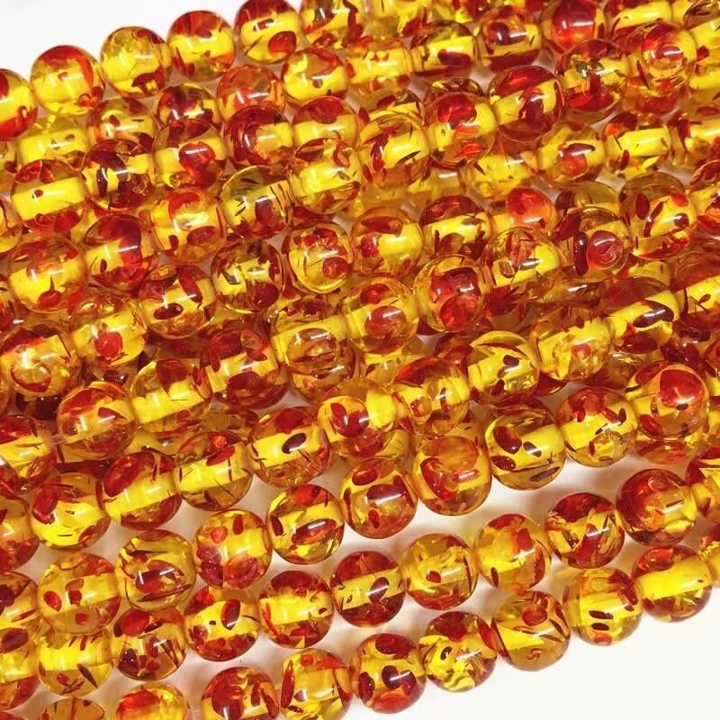 """Venta al por mayor redonda Bodhi cuentas fuego resina dorada Ambers oración cuentas sueltas Faux Beeswax acrílico placa espaciadora fabricación de joyería 15 """"A210"""