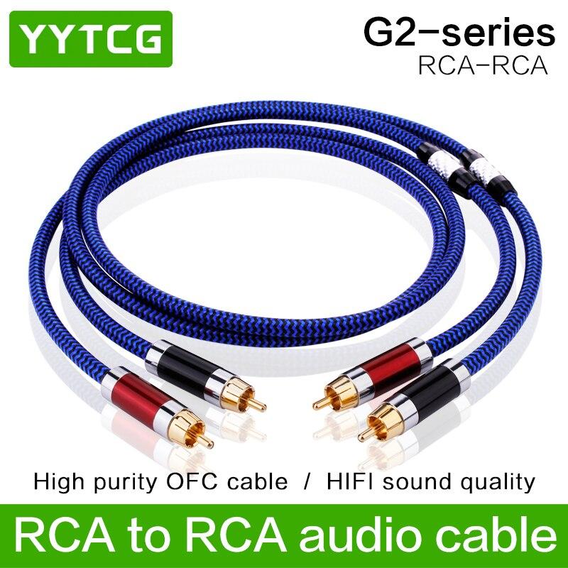 كابل YYTCG G2 RCA HiFi 99.9999% OCC 24K, موصل قابس مطلي بالذهب لـ DVD CD DAC ، مكبر الصوت