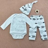 infant baby clothes princess arrived print white topsprint pants hat 3pcs bebe kids clothing sets
