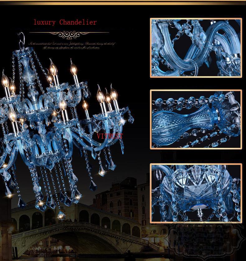 Blue Crystal Chandelier Lightings Fixture Modern Hanging Lamps HomeLiving Room Dining Bedroom Large Luxury K9 Cristal Lustres de  - buy with discount
