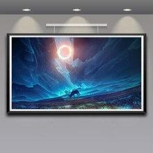 Illustration paysage orignal fantaisie Art soie tissu affiche impression 11x20 16x29 20x36 pouces maison mur décor peinture livraison gratuite
