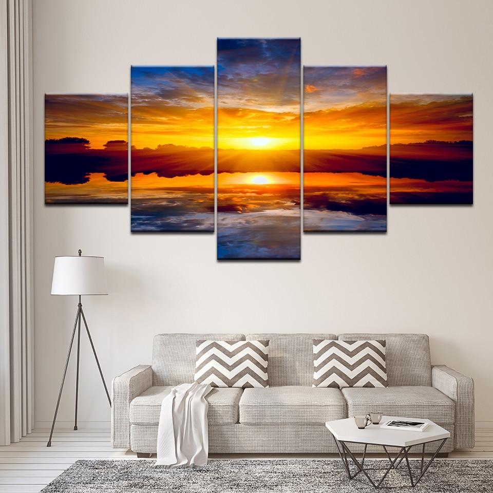 Naturaleza cartel de paisaje puesta de sol Arte de la pared pintura al óleo lienzo en módulos imágenes de impresión para sala de estar 5 piezas Modular marco obra de arte