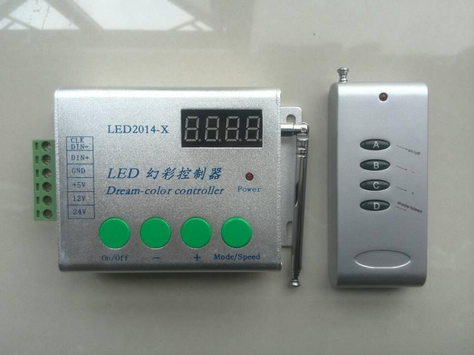 RF светодиодный контроллер пикселей, светодиодный-2014-X Мечта Цвет светодиодный контроллера; DC5-24V; max 2048 пикселей; поддержка W2811/WS2812B/SK6812/UCS1903 и т...