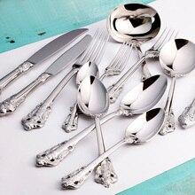 1 pièces de luxe argent vaisselle de mariage couverts en acier inoxydable dîner ensemble Steak couteau fourchette cuillère à café café Restaurant vaisselle