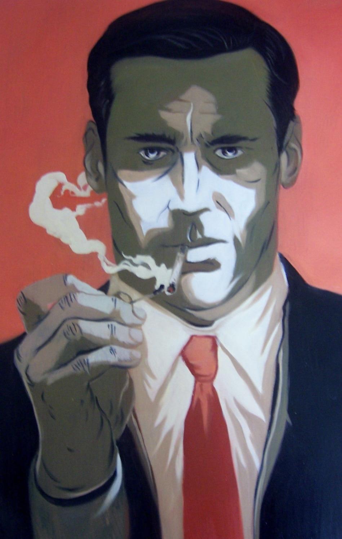 100% Mad Men 28x16 pintura a óleo Handmade, icônica de TV, Jon Hamm