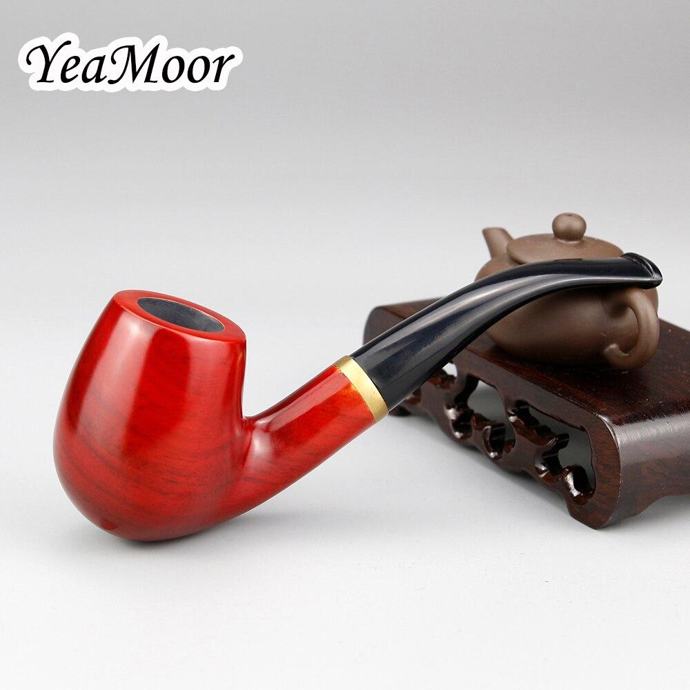 Pipa de tabaco curvada clásica de 9mm, anillo de Metal con filtro, pipa de madera, 10 herramientas, sandalia roja gratis, pipa de madera para fumar, conjunto
