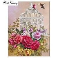 Peinture diamant theme roses et oiseaux  broderie complete 5d a mosaique de strass ronds et carres  decoration de maison  a faire soi-meme  FS6558