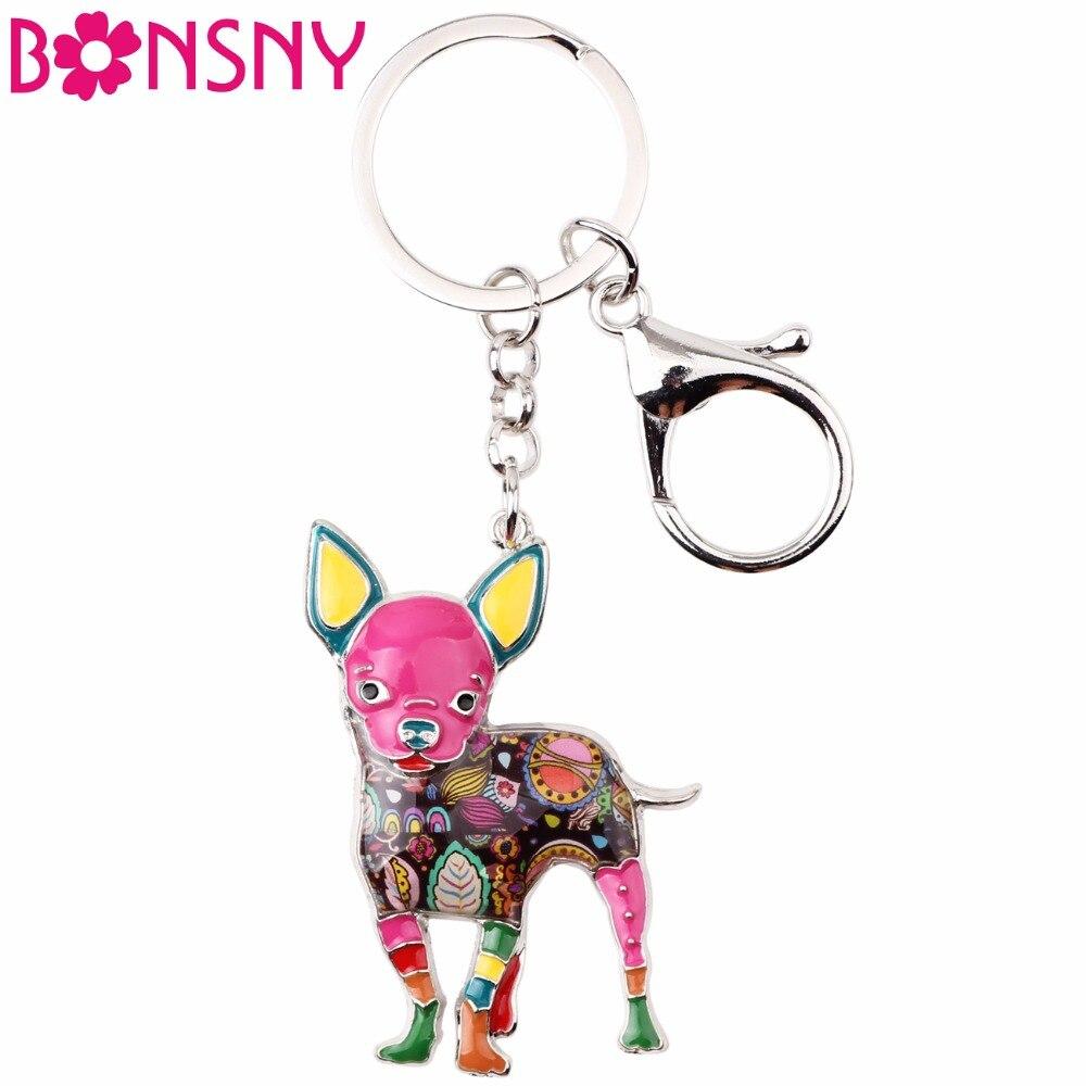 Bonsny émail mignon Chihuahuas chien porte-clés porte-clés Pom cadeau pour les femmes fille sac pendentif 2017 nouveau porte-clés à breloques bijoux de mode