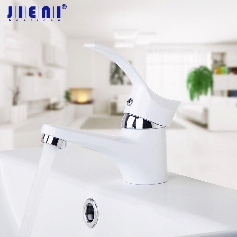 JIENI-صنبور حمام لطلاء أبيض ، حوض حمام ، حوض غسيل ، حوض مرحاض ، صنبور خلاط مياه ساخنة وباردة