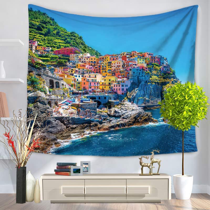 Tapiz de alfombra colgante de pared decorativo para el hogar 130x150 cm rectangular colcha Seaside city patrón escénico GT1066