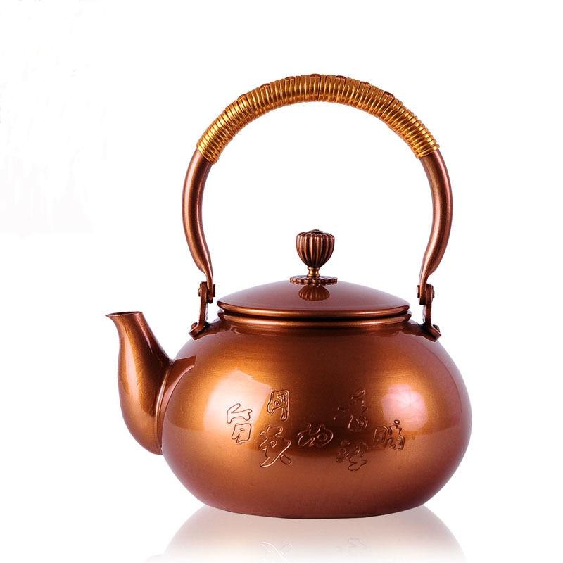 Chino morado puro olla de cobre hecho a mano té olla de cobre Kung Fu té tetera plum flor patrón japonés agua tetera 800 ml