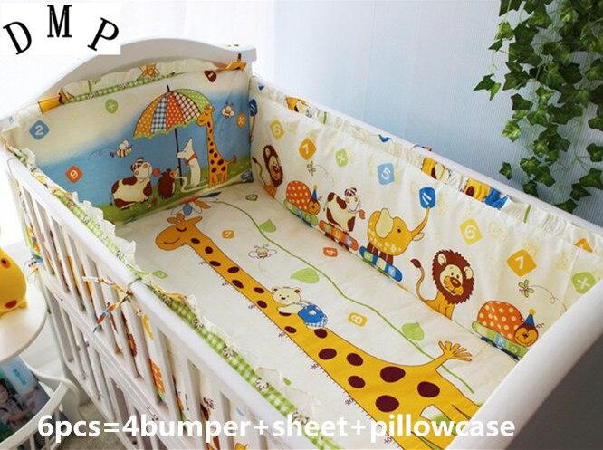 6 pçs cama do bebê do menino berço cama cuna jogo de cama berço da criança paracolpi lettino (4 pára-choques + folha capa travesseiro)