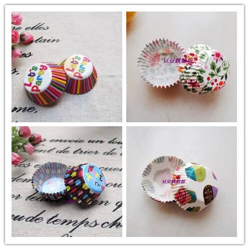 Mini 2,5 cm base revestimientos de papel para magdalenas muffins casos Cupcake molde hornear tazas diseño surtido