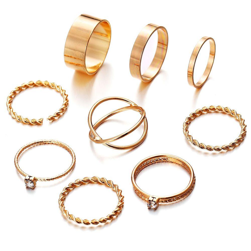 9 pçs anel de dedo de prata de ouro feminino minimalista minimalista jóias cristal junta toe define belo presente s