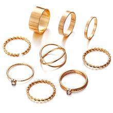 9 pièces or argent bague femme minimaliste bijoux cristal Knuckle orteil définit beau cadeau s