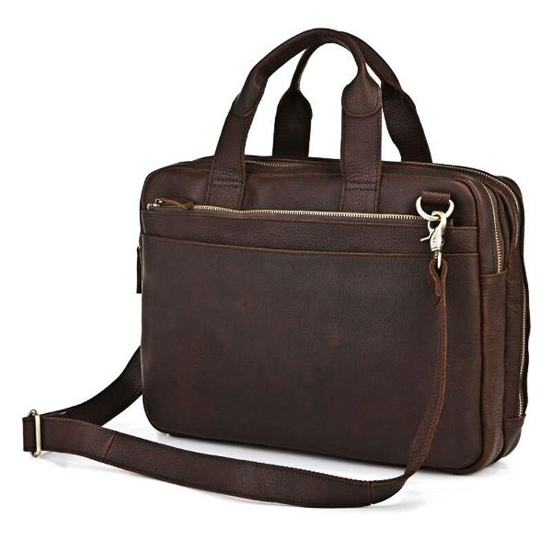 Vintage Portfolio Genuine Leather Men Briefcase 14laptop Bag men Business Tote Handbag Shoulder bag Brown