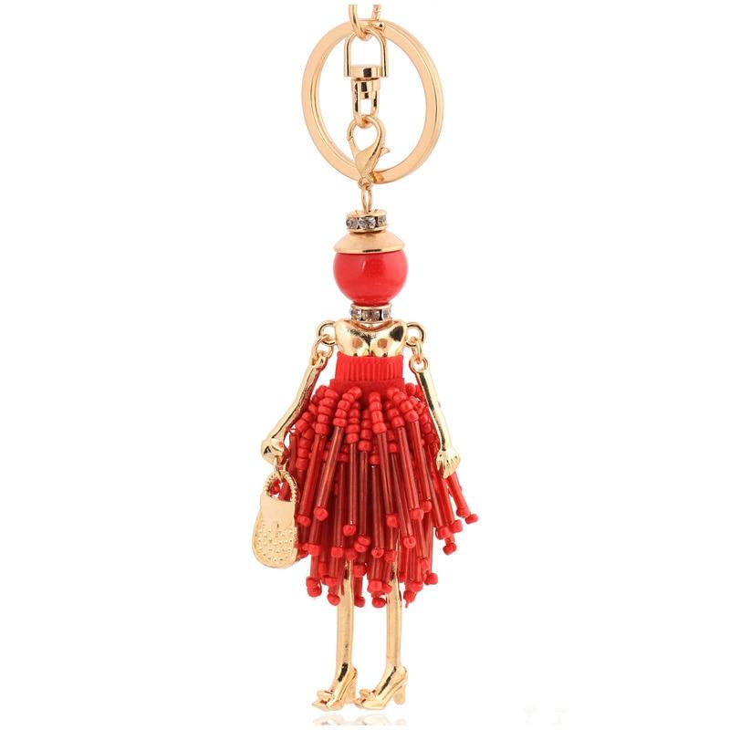 Charme de alta qualidade vermelho boneca chaveiros jóias ouro-cor borla cristal chaveiro feminino chaveiro chaveiro chaveiro anel de corrente saco pingente