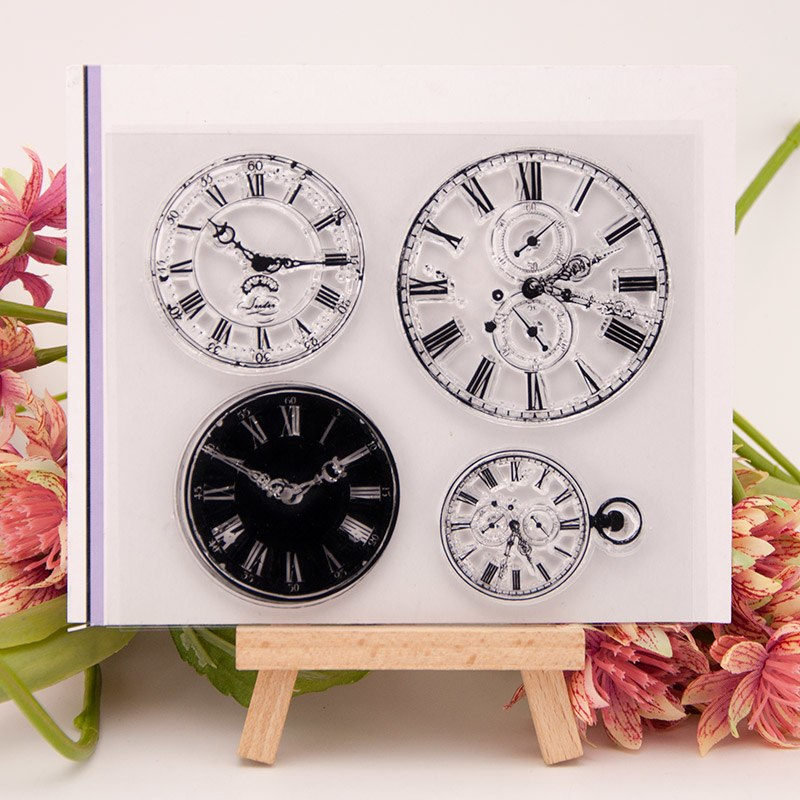 Relógio 3 Mostrador do Relógio de Silicone Transparente Claro Selo para Selo DIY Álbum Scrapbooking Foto Claro Decorativo Folhas de Carimbo