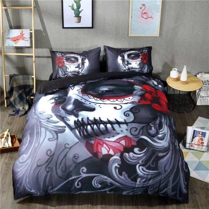 Juego de ropa de cama con calavera zombie estampado 3D, regalo de Halloween, Juego de 2/3/4 Uds. De fundas de edredón, sábanas, fundas de almohada de tamaño extragrande